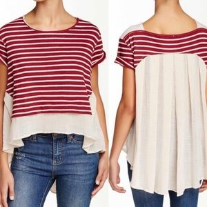 Free People French Kiss Tee Blouse Striped S